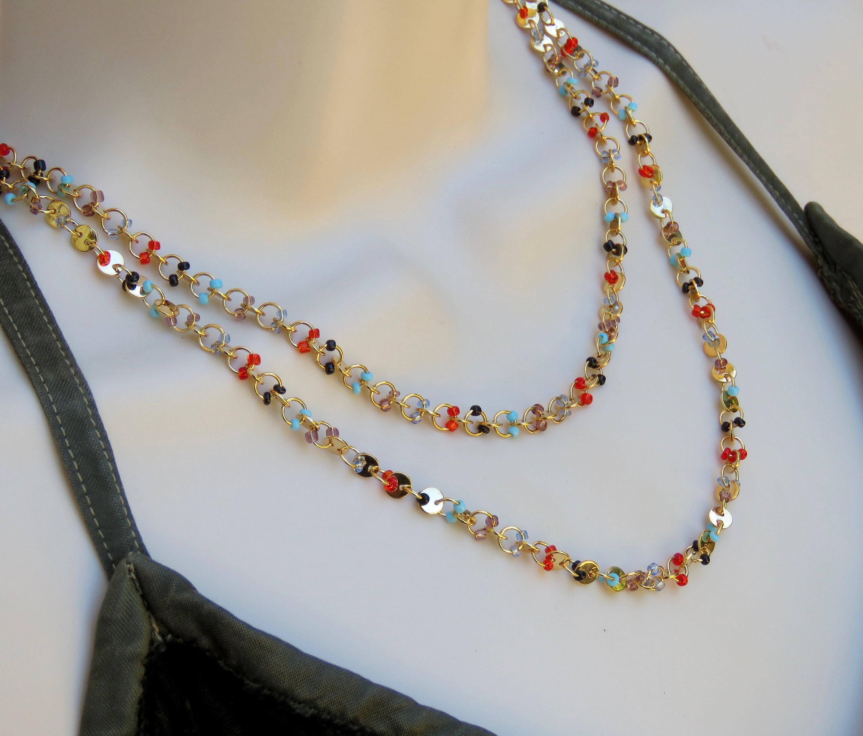 Multi-Strand Necklace Geometric Necklace Gift For Her Boho Minimalist Gold Layered Tassel Crystal Pendant Necklace Boho Necklace Dainty