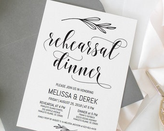 Rehearsal dinner invitation template Rehearsal invitation printable rehearsal invites Instant download Pre wedding party invitation FDST