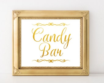Gold Wedding Decor Candy Bar Sign Vintage Digital Buffet Signage DIY Template Spring