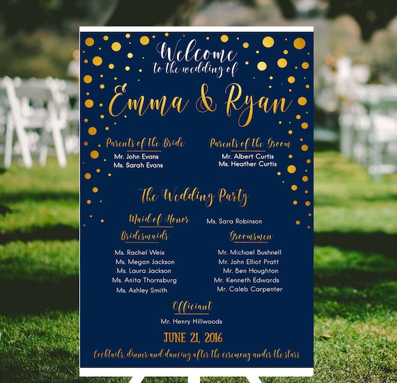 Navy And Gold Wedding Program Printable Party Sign