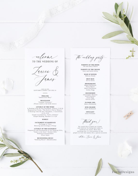 Catholic Wedding Program Template Wedding Ceremony Program With Mass Without Mass Printable Order Of Service Rustic Wedding Decor 021fd