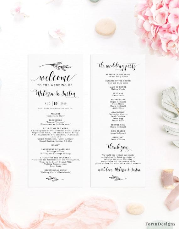 Catholic Wedding Program Template Rustic Wedding Ceremony Etsy