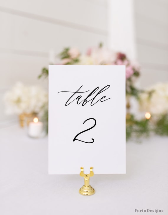 Table Numbers Wedding Template Wedding Table Number Cards Etsy