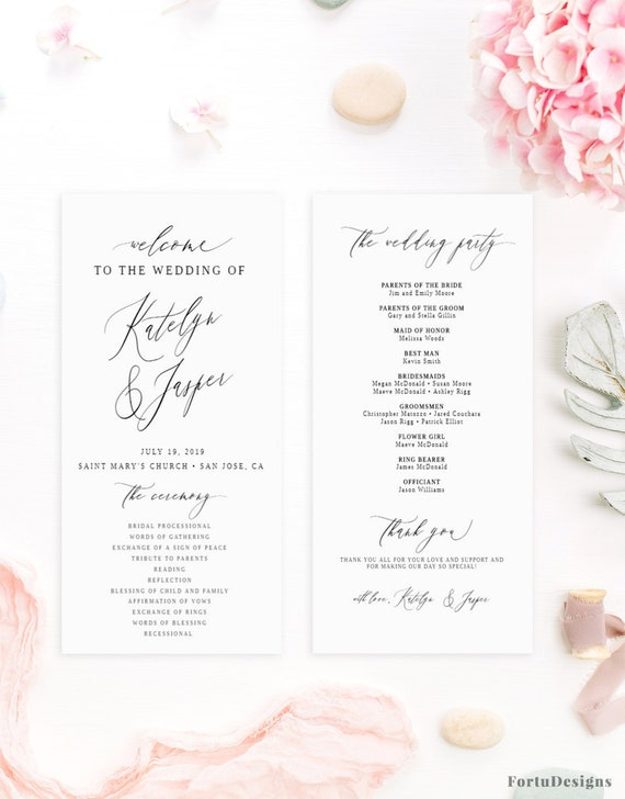 Simple Wedding Program Template Fitbo Wpart Co