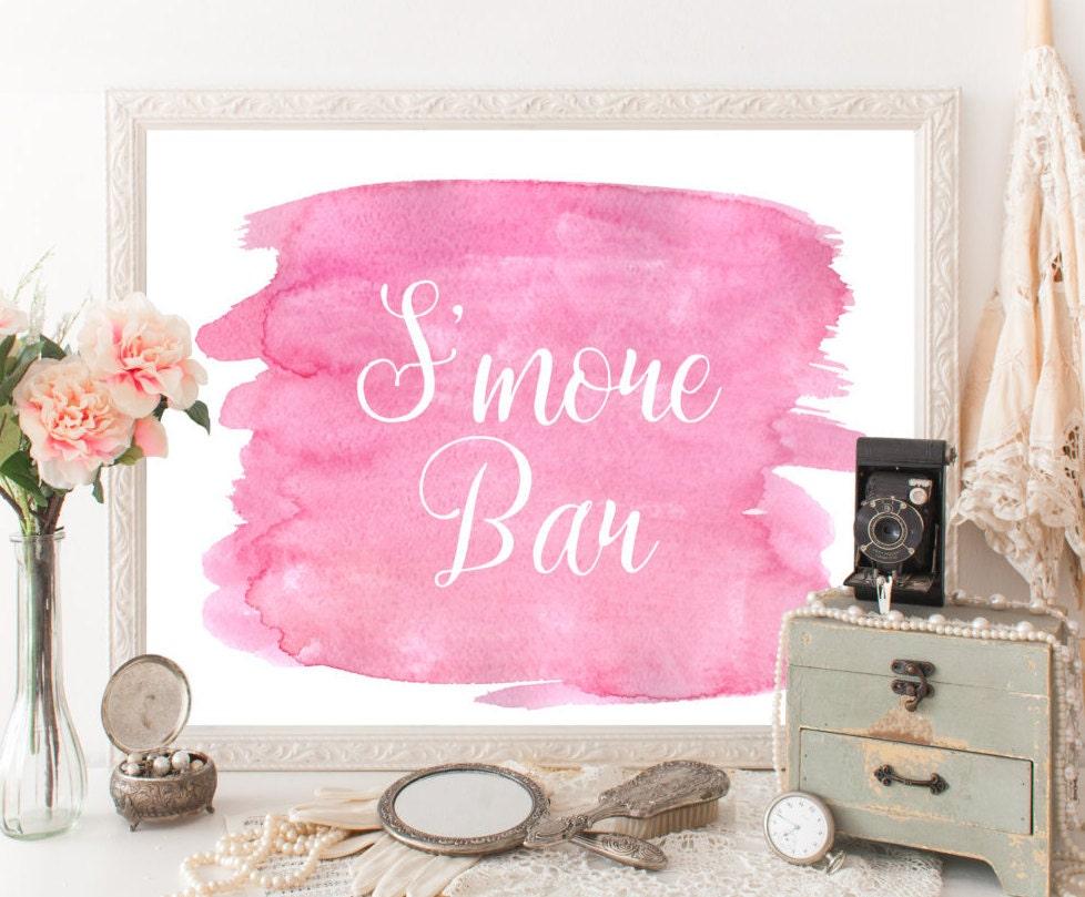Smores bar sign Candy bar Reception printable Pink bridal