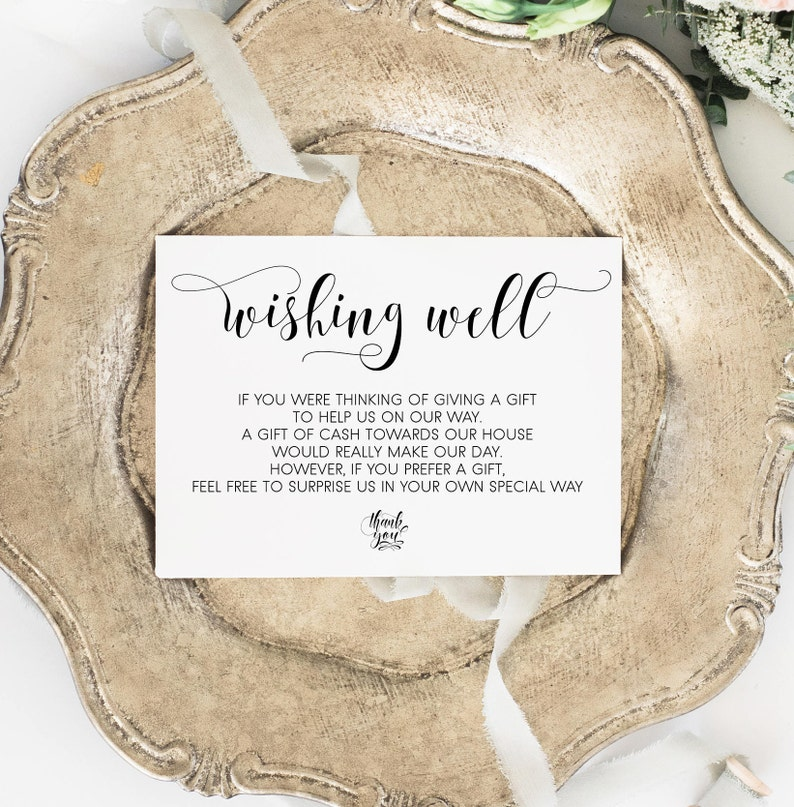 Etsy Wedding Registry.Wishing Well Card Gift Registry Card Wedding Wishing Well Insert Wedding Insert Printable Wishing Well Poem In Lieu Of Gift Instant Download