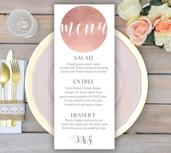 Rose Gold Wedding Menu Card Printable