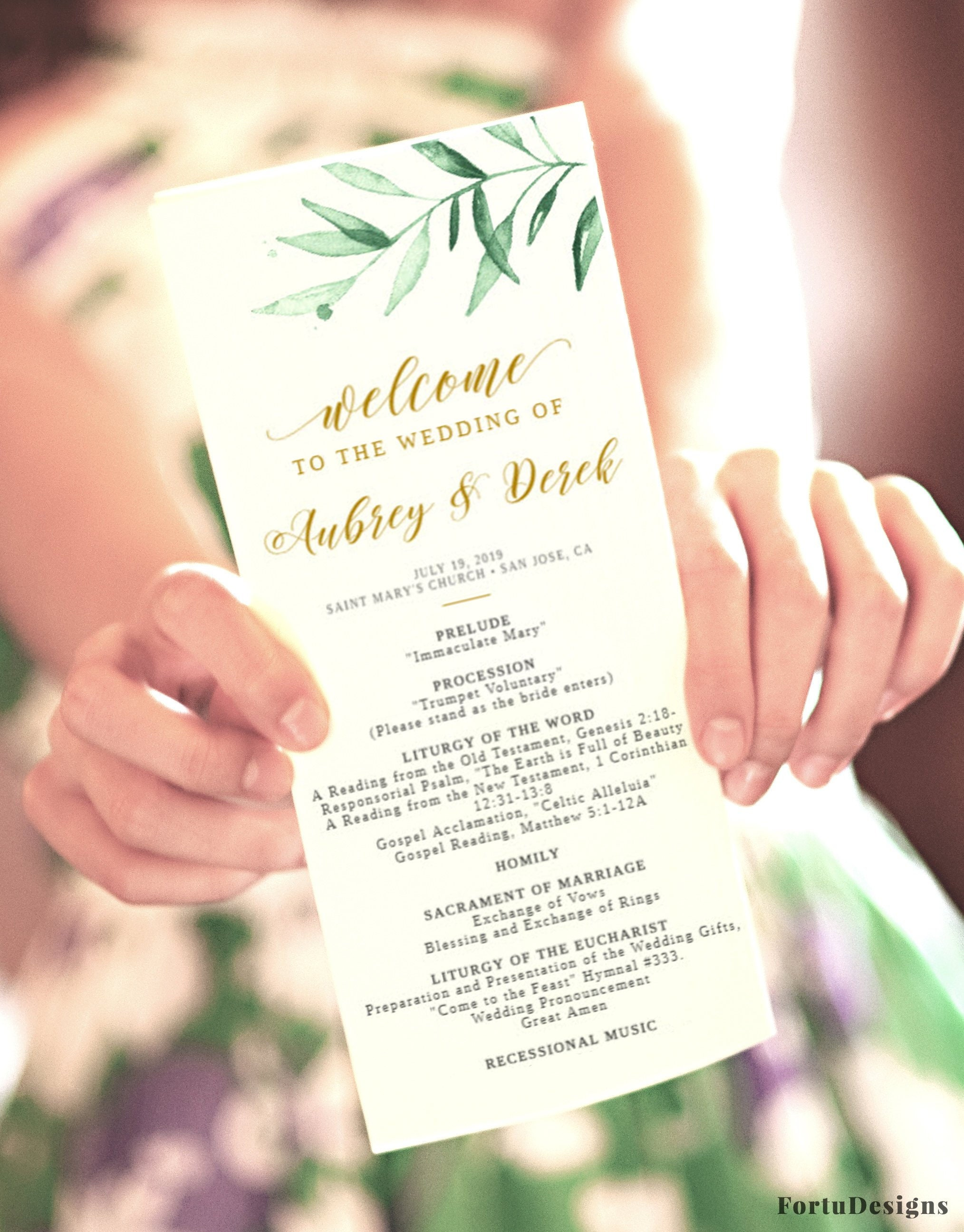 Catholic wedding program template, Wedding ceremony Program with mass /  without mass, Printable order of service, Greenery wedding #35FD