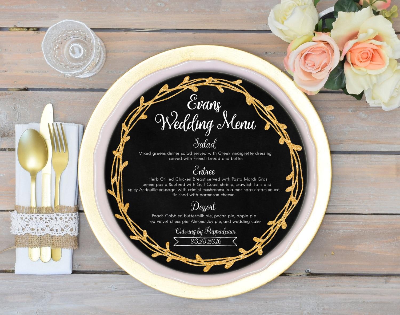 round menu cards circle menu black and gold wedding menu