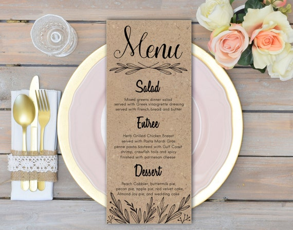 Rustic Wedding Menu Cards Rehearsal Dinner Menu Rustic Wedding Etsy