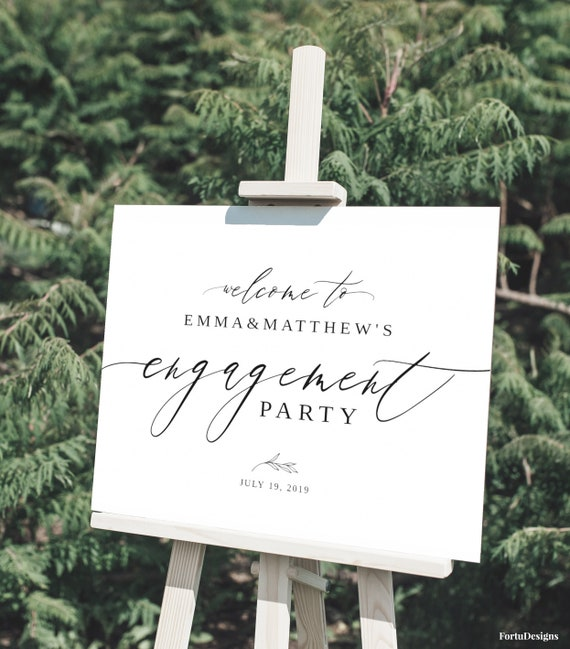 ENGAGEMENT PARTY decorations, Engagement welcome sign, Engagement wedding  sign template, Modern engagement sign Rustic party decor #021FD