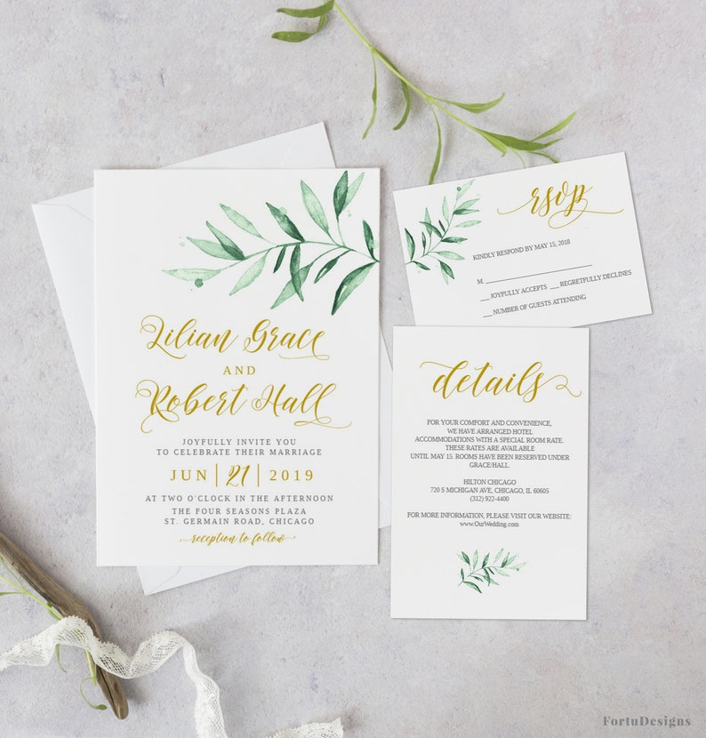 Greenery Wedding Invitation Template Suite Rustic Invites Printable Garden Set Summer 35FD