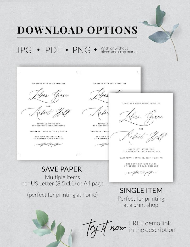 AURORA Rustic wedding DETAILS card template DIY Greenery wedding details invitation template Information card Info card Insert card