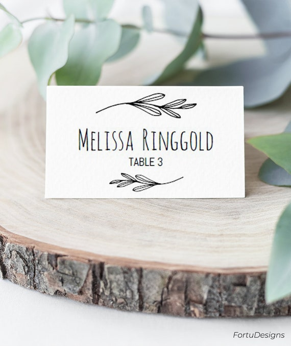 Place Card Template Wedding Place Cards Wedding Printable Etsy