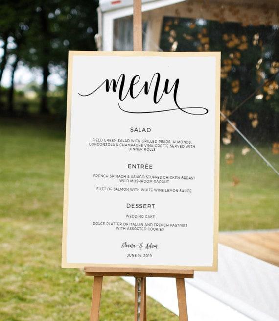 Wedding Menu Template Wedding Menu Sign Bridal Shower Menu Board Rehearsal Dinner Menu Engagement Party Menu Templett Download 43fd