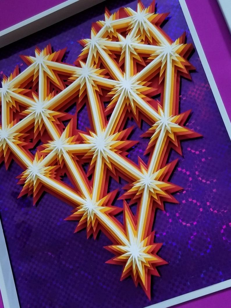 3D Paper Sculpture Sparks Heart