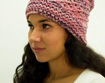 Gorro morado-rosa tejido - 100% Hecho a Mano 3060fdb3e8d