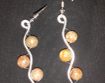 Jasper Wire-Wrapped Earrings - One Pair