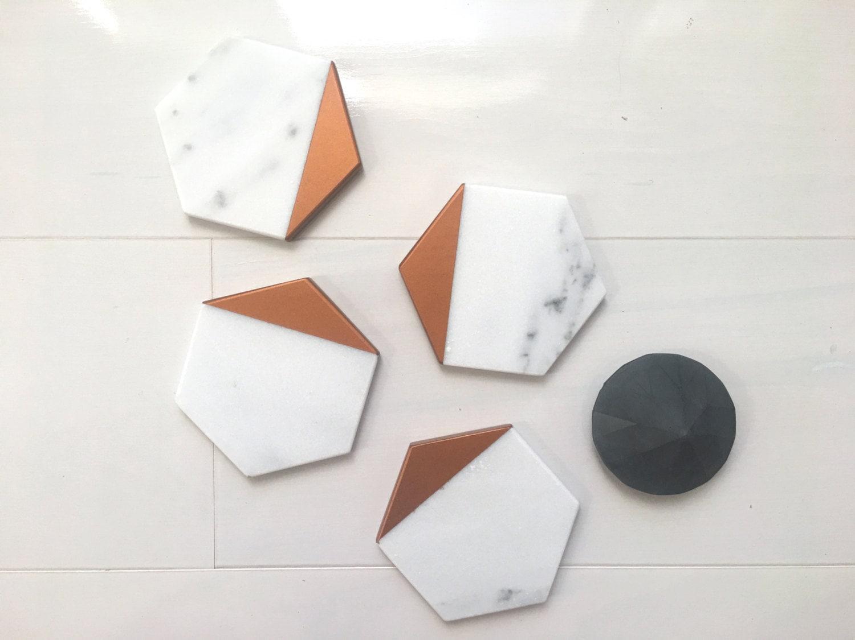 Hexagon Marble Coasters Set Of 4 Set Of 6 Carrara White