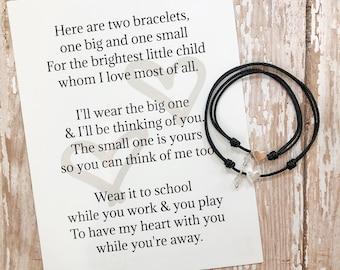 Comfort Bracelet Sets with Heart Charm / Separation Bracelet sets / Mom and child matching security bracelets / think of me bracelets