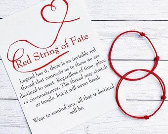 Red String of Fate Couple Bracelet Set with Card / Kabbalah Red Thread Bracelet / Couple Bracelet / Red String Bracelet