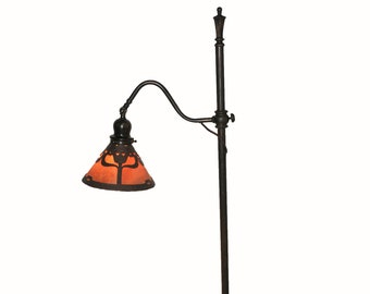 Antique Handel Floor Lamp with Brown Mosserine Chipped Ice Tulip #8297