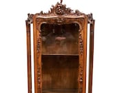 Nicely Carved Antique French Louis XV Display Cabinet, 19th Century, Walnut 9823
