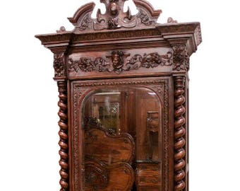 Handsome Antique French Renaissance Mirrored Armoire, 19th Century, Oak #8745