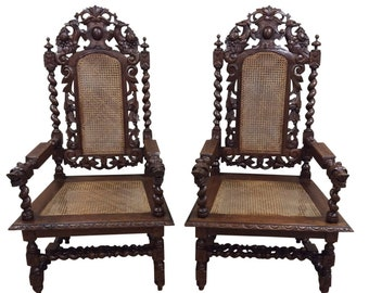 Matching Pair of Antique French Hunt Arm Chairs, Newly Caned, 19th Century #9086