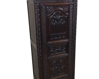 Antique French Gothic Cabinet or Armoire, Narrow Model, Oak, 19th Century #8384