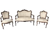Nicely Priced French Louis XV Salon Set, Neutral Fabric, Walnut Sku 9787