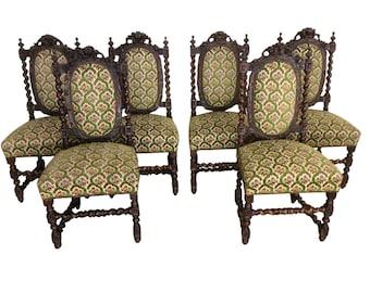 Superb Antique Set of Six Black Forest Dining Chairs Barley Twist Oak #9077  sc 1 st  Etsy & Barley twist chair | Etsy