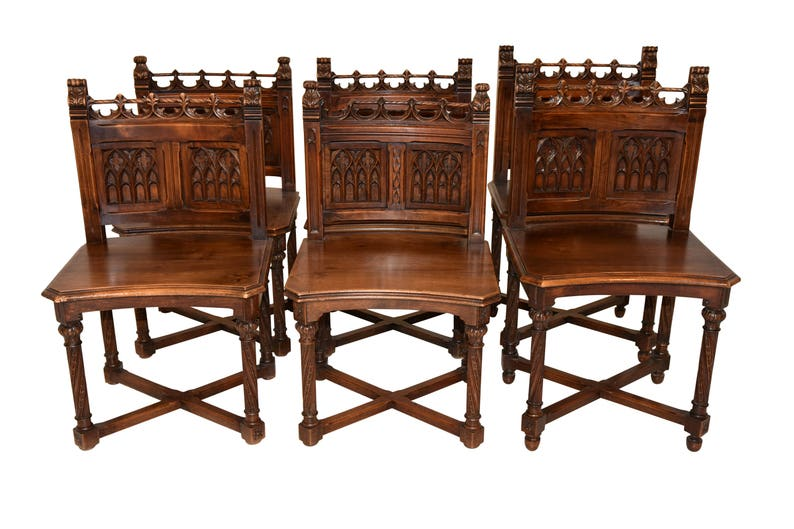 image 0  sc 1 st  Etsy & Special Set of Antique French Gothic Chairs Walnut19th | Etsy