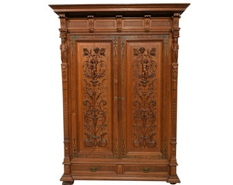 Antique French Cabinet Bedroom Armoire Plenty Storage Carved Cherubs and Statues #4924