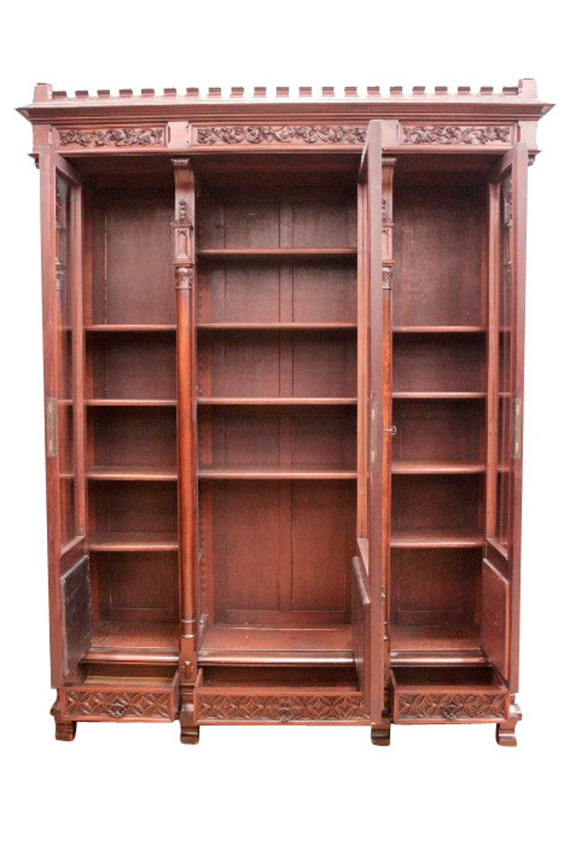 Nice Quality Antique French Gothic Bookcase Glass Doors Walnut 9151
