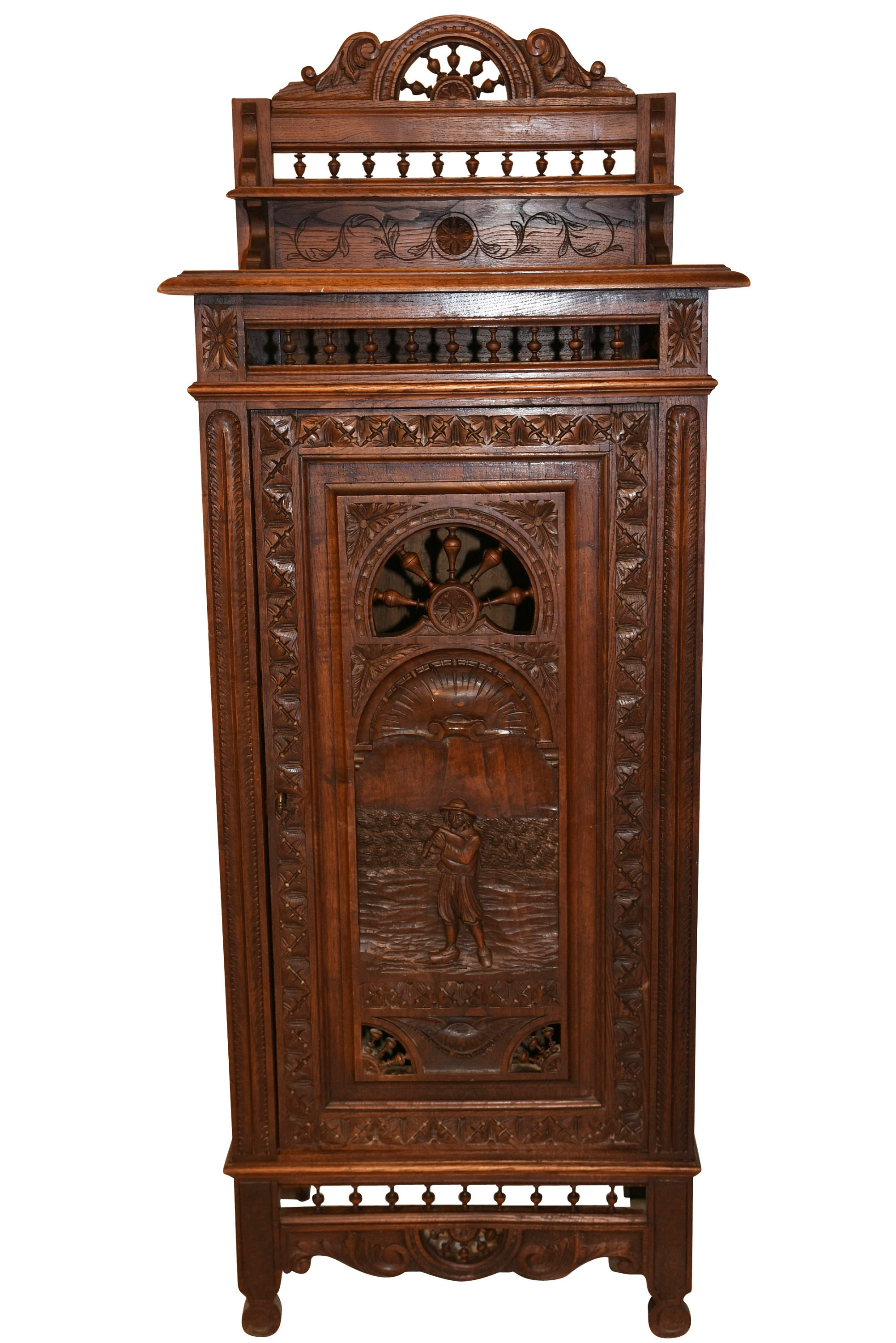 Cabinet D Architecte Nice nice narrow french breton cabinet, circa 1900, oak #9946