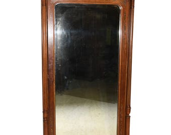 Wonderful French Armoire, Full Mirror, French Floral Paintings, Walnut #8466