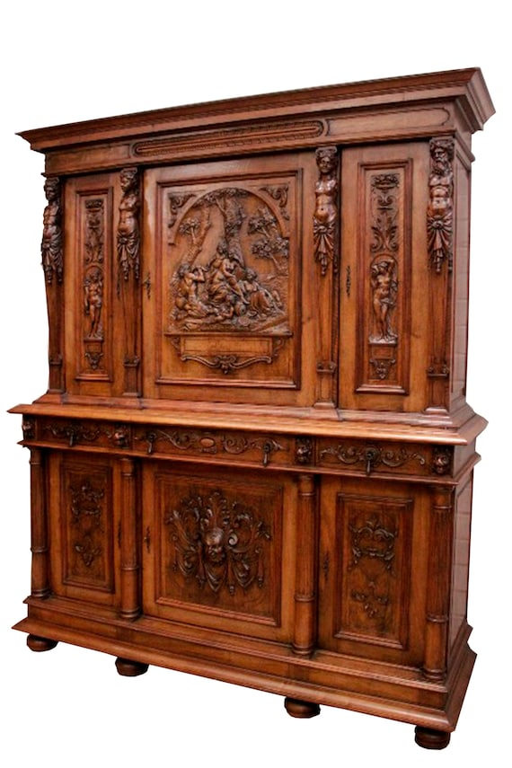 image 0 - Showy Antique French Renaissance Cabinet Excellent Quality Etsy