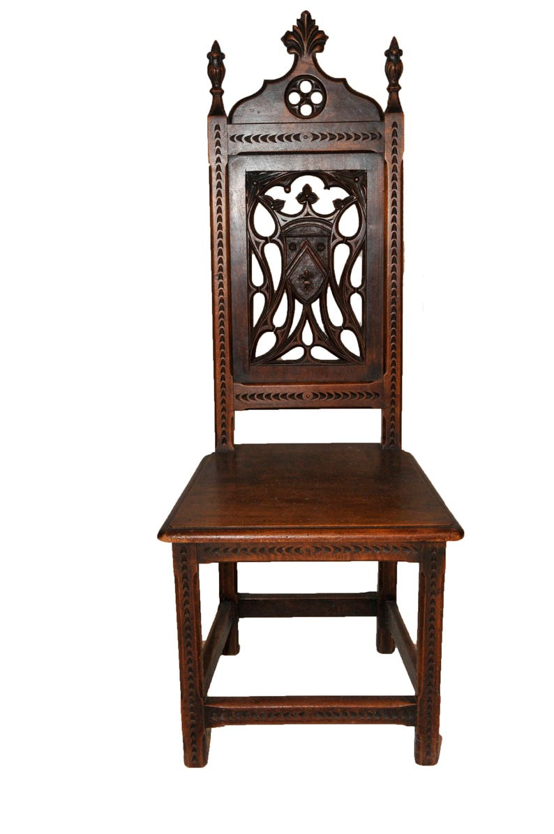 image 0  sc 1 st  Etsy & Antique French Gothic Chair Exquisite Carved Detail Oak | Etsy