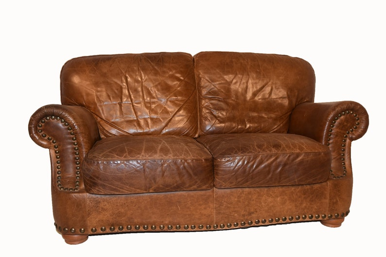 Superb Rustic Brown Leather Loveseat Used 1970S 2088 Andrewgaddart Wooden Chair Designs For Living Room Andrewgaddartcom