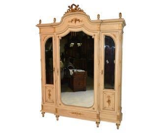Lovely Antique Painted French Provincial Armoire, Circa 1910 #8123