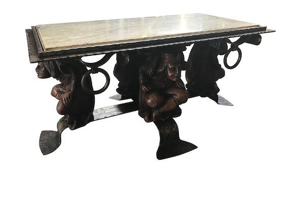 Awesome Antique French Gothic Jester Coffee Table With Marble Top Whimsical 9313 Gmtry Best Dining Table And Chair Ideas Images Gmtryco