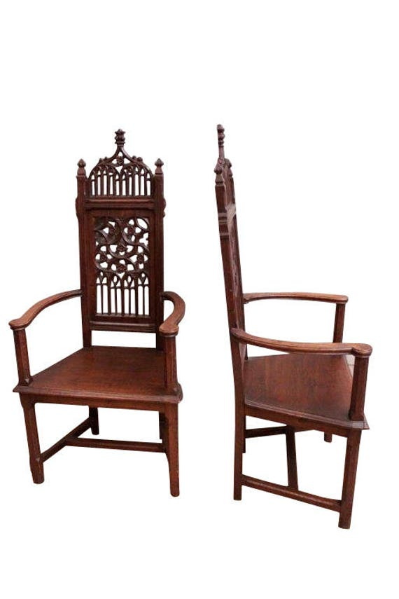 Marvelous Pair Antique French Gothic Arm Chairs, High Backs, 19th Century,  Oak #8148