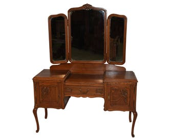 Vintage French Provincial Dressing Table with Mirror, 1940's, Oak #8436