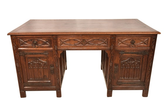 image 0 - Attractive Antique French Gothic Desk & Chair Oak Etsy