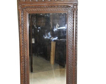 Antique French Gothic Armoire Full Dressing Mirror Narrow Model in Oak 19th Century #7303