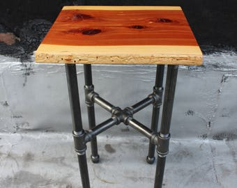 Side Table with Iron Pipe and Live Edge Eastern Red Cedar
