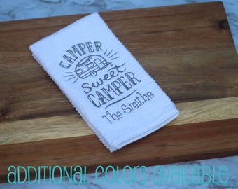 Personalized Gift, Camper Sweet Camper Kitchen Towel, Dish Towel, RV Accessories, Travel Trailer Decor, Vintage camper, Glamping, Motorhome,