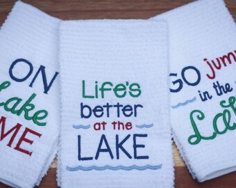Lake Life, Lake House Decor, Lakehouse Kitchen, Life is Better at the Lake, Go Jump in the Lake, On Lake Time Bar Mop Kitchen Towels, Gift