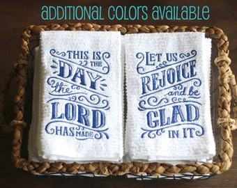This Is The Day Lord Has Made Psalm 118 Dish Towels Set Kitchen Bible Verse Religious Gifts Decor
